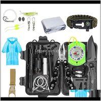 Gadget e Camping Escursionismo Sport Sport Estercedc Kit Sos SOS Strumenti di sopravvivenza Coperta di emergenza Penna tattica Pinze Torcia Pinze per torcia