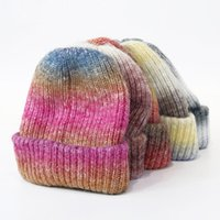 Beanies 2022 Hat Winter Men's Women's Satin Dyed Acrylic Yarn Knitted Outdoor Warm Jacquard Tie-Dyed Hip Hop