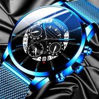 Designer Watch Brand Orologi orologi di lusso Calendario Blu Acciaio inox Acciaio inossidabile Cintura a maglia analogica al quarzo analogico Relogio Masculino Mens
