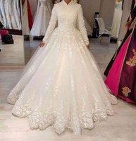 2020 Dubai Saudi High Neck Muslimische Brautkleider mit langen Ärmeln Eine Linie Appliques Spitze arabische Frauen bescheidene Anpassen Brautkleider