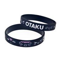 100PCS OTAKU Silicone Rubber Bracelet Debossed Anime Head Portrait Decoration Logo Adult Size Black