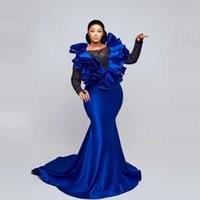 Charming Royal Blue Evening Dresses Long Sleeves Beaded Lace Ruffles Puffy Plus Size Aso Ebi Women Prom Gowns