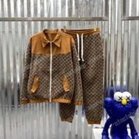 21ss homens mulheres designers tracksuits tecido de veludo dourado tricô duplo bordado streetwear windbreaker fashion tracksuit homens designer marrom
