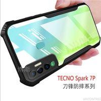 For Case Tecno Spark 7 7p 6 Air   Go TECNO CAMON 6 POVA Transparent Acrylic Phone Reinforced Corner Protection Cover Clear