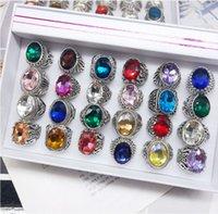 wholesale 50pcs lot womens Rings retro antique silver stone Rhinestone Vintage Jewelry RING mix styles