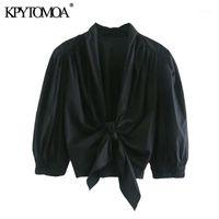 KPytomoa mulheres 2021 moda com aparência elástica ruffled blusas colhidas vintage slow manga arco amarrado camisas femininas blusa chique tops1