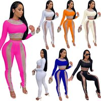 Fall Women 2 Two Piece Pants suits sexy patchwork mesh hollow out long sleeve crop top slim pencil trouser outfits set fashion nightclub streetwear plus size clothing