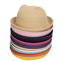 Wide Brim Hats 2021 Cute Children's Sun Hat Spring Summer Boy Girl Kids Baby Straw Cap Panama Shades Ear Beach Casquette