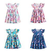 Kızın Elbiseleri Kaç Klasik Çiçek Uçan Kollu Sundress Bebek Kız Karikatür Desen Prenses Elbise Yaz Çocuklar Için Pileli 1-6 T