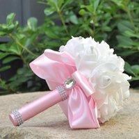 Decorative Flowers & Wreaths White Wedding Bride Holding Foam Artificial Bouquet Ribbon Rhinestone Decoration Groom Dance