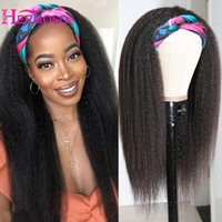 Parrucca della fascia della fascia Kinky Parrucche dritte dei capelli umani della testata Glueless Fascia Brasiliana Full Machine realizzate per le donne nere 180% Density Lace