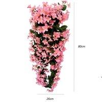 Мода фиолетовые искусственные цветы стены висит корзина цветок орхидеи шелковые венки винограда дома свадьба вечеринка уличные светлые украшения OWD6282