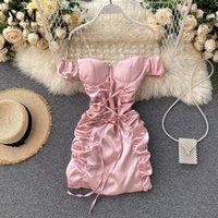 Yuoomuoo ins moda sexy mini vestido de vendaje mujer 2021 verano delgado pinillo ruchado vestido de vestido de hombro rosa blanco