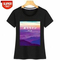T-shirt Donna Vaporwave Art per Cyber Punk Offline Kawaii Iscrizioni Camicia di cotone Party # MC7P