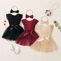 Clothing Sets Baby Girls 2Pcs Summer Outfits, Cute Sleeve Lace Hollow Out Floral Romper + Tulle Skirt Headband Set, 0-18Months