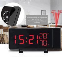 Desk & Table Clocks Snooze Projection Alarm Clock With Temperature Humidity Backlight USB FM Radio
