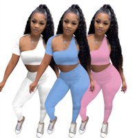 wholesale items sexy vest sportswear two piece set tracksuits outfits sleeveless y2k crop top trousers sweatsuit pullover legging suits klw7367