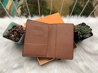 Excelente Qualidade Organizador De Bolso damier grafite M60502 mens Real carteiras de couro titular do cartão N63145 N63144 bolsa carteira id bifold sacos