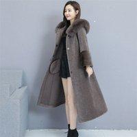 2019 novas mulheres outono inverno casaco de pele falsa feminina casual casual colarinho de pele com capuz quente casaco de manga longa senhora longa outerwear m7kd #