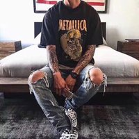 Paura di Dio Metallica T-shirt vintage T-shirt Scheletro Unghie Dannes Skull Maniche corte Lavato T Shirt T-shirt uomo Plus Size Tee Uomo Donne Oversize Rock Rap Hip Hop Streetwear Tops