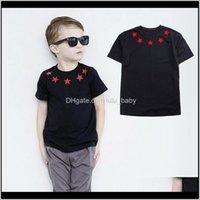 T-shirts Marque Tshirt Girls Bébé Bébé Enfants Rouge Star Star Noir T-shirt Vêtements Pour Fille Été Enfants Top Vêtements Y200704 NZVE 4K75J