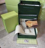 China_DHGATE_WATCHES 21 22 톱 시계 상자 그린 서류 선물 시계 가죽 가방 카드 0.8kg ROLEX BOX DER0256