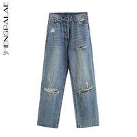 Personalidade joelho buraco design jeans mulheres primavera de cintura alta denim largo pants pants 5b591 210427