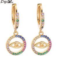 Pipitree Zircon Bijoux Rond Charme Evil Eye Boucles d'oreilles multicolores CZ Stones Boucles pour femmes Mode Brincos Huggie