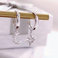 Звездная луна асимметричный 925 стерлингового серебра кубический цирконий серьги для женщин мода CZ круг ушные кольца ушные ювелирные изделия 978 Q2
