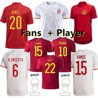 İspanya 20 21 Futbol Forması Hayranları + Oyuncu Sürümü Paco Isco Thiago Saul Morata A.Ileesta Pique Avrupa Kupası Futbol Gömlek Alcacer Sergio Alba Erkekler Ropa Deportiva + Kids Kiti
