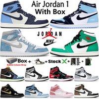 상자 에어 Jordan Jumpman 레트로 1 OG 1S Mens 농구 신발 흑요석 UNC 하이퍼 로얄 대학교 블루 럭키 그린 브리드 특허 여성 운동화 트레이너 크기 36-46