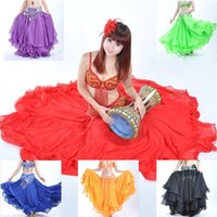 Colors 3 Layers Chiffon Roll-up Trim Belly Dance Skirt, Bellydance Top Quality Dancing Skirts, Long Gypsy Skirts VL-188 Stage Wear