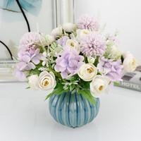 Chá Rosa Hydrangea 7 Forquilhas Simulação Flor Buquê Estilo Nórdico Flores Artificiais para Casamento Casa Decoração Falsa Grinaldas Decorativas