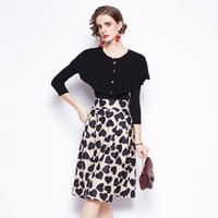 Office Lady Skirts 2PCS Suits Autumn Winter Fashion Knitted Top + Printed Skirt Two-piece Set Elegant Women Clothing Women's Tracksuits