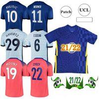 21 22 كرة القدم الفانيلة C F كرة القدم قميص Kante Giroud Pulisic Man Werner Mount Ziyech Lampard Kids Havertz Kit T. Silva Abraham Set Chilwell