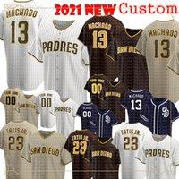 13 매니 Machado 맞춤형 야구 유니폼 23 Fernando Tatis Jr. Jersey Tatís Tony Gwynn Wil Myers Eric Hosmer 스티치 로고