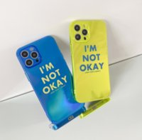 laser neon I am not ok letters tpu phone cases For iPhone 12 11 pro promax XS Max 8 Plus case cover