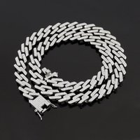 Chains Hip Hop Iced Out Cuban Link Chain Necklace Bracelet Set Man's Bling Full Rhinestone Gold Silver Streetwear Rock Rapper Jewelry