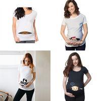 الصيف مضحك الكرتون طباعة الملابس الأمومة زائد الحجم قصير الأكمام تي شيرت الحوامل قمم المرأة القمصان 2477 Q2