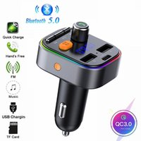 Car Audio FM Transmitter Bluetooth 5.0 Kit Handsfree Music Play MP3 Player QC3.0 USB Charger U DIsk TF With LED Light