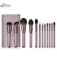 Makyaj Fırçalar Lemoda Set 10 adet Üzüm Mor Ahşap Kolu Pudra Fondöten Göz Farı Allık Karıştırma Güzellik Kadın Kozmetik Kitleri