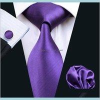 Boyun Bağları Moda Aksesuarları Hızlı Kravat Katı Mor Hanky Jakarlı Dokuma Erkek İpek Kravat Seti Eğlence İş Çalışma Örgün Düğün N0