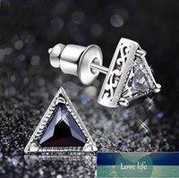 Hohe qualität coole herren ohrring ohrstecker 925 silber color cz kristall gefälschte stecker dreieck frauen ohrstecker für liebhaber