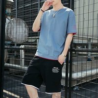 Mens Shorts Set Summer Men's Casual New T-shirt Short-sleeved 2-piece Suit Loose Sports Trend Youth Tracksuit Men
