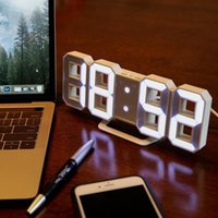 Diseño moderno 3D LED Reloj de pared Digital Relojes de alarma Digitaces Hogar sala de estar oficina mesa de escritorio noche
