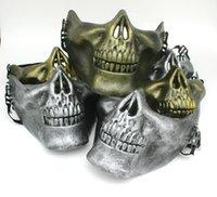 Mezza faccia protettiva Skull Mask Gold Argento Airsoft Maschera di Halloween Party Spavent Masks Masquerade Cosplay Plastica Maschera orrore DBC VT0781