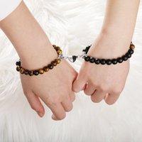 Charm Bracelets Heart Magnetic Snap Lovers Couple Bracelet Lava Stone Beads Unisex Distance Matching Braclet Valentine's Day Gift