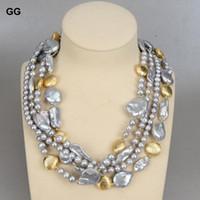 """20 """"4 Strands Gray Keshi Pearl BIWA BAROQUE BAROQUE Color collar de monedas chapado para las cadenas de mujeres"""