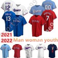 2021 Özel 13 Joey Gallo 53 Adolis Garcia Jersey 12 Rougned Koku 29 Adrian Beltre 16 Brock Holt Adam Kadın Gençlik Çocuk Beyzbol Formaları