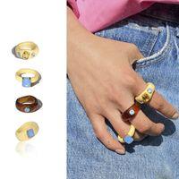 Vintage multicolor hars strass geometrische rechthoek acryl ring voor vrouwen meisjes zomer sieraden